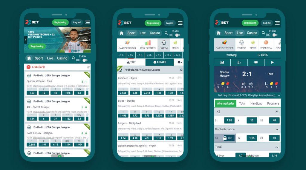 Aplicação 22Bet para um telefone móvel